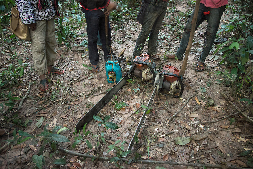 Two chainsaws confiscated during the activists' forest patrol. The activists caught three groups of illegal loggers that day. © Antoine Raab / Ruom