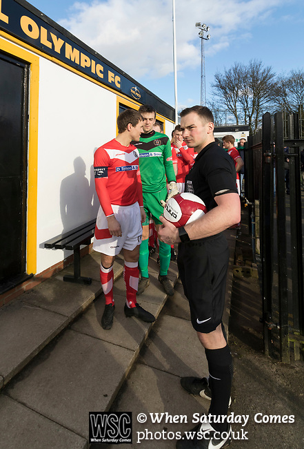 Rushall Olympic 1 Workingon 0, 17/02/2018. Dales Lane, Northern Premier League Premier Division. Referee Mr Rollason chatting with Workington Captain Gari (sic) Rowntree. Photo by Paul Thompson.