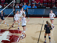 STANFORD, CA - December 1, 2018: Jenna Gray, Holly Campbell, Kathryn Plummer, Kate Formico, Morgan Hentz at Maples Pavilion. The Stanford Cardinal defeated Loyola Marymount 25-20, 25-15, 25-17 in the second round of the NCAA tournament.