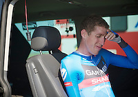 Daniel Martin (IRL) ready to leave for the hotel after finishing the time trial<br /> <br /> Tour de France 2013<br /> stage 11: Avranches - Mont Saint-Michel 33km