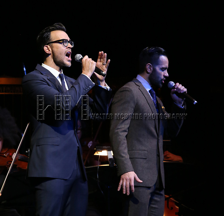 Cheyenne Jackson and Ramin Karimloo on stage at the  2017 Dramatists Guild Foundation Gala presentation at Gotham Hall on November 6, 2017 in New York City.