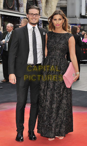 LONDON, ENGLAND - MAY 11: Charlie Sims &amp; Ferne McCann attend the &quot;Godzilla&quot; UK film premiere, Odeon Leicester Square cinema, Leicester Square, on Sunday May 11, 2014 in London, England, UK.<br /> CAP/CAN<br /> &copy;Can Nguyen/Capital Pictures