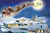 Interlitho, Patricia, CHRISTMAS SANTA, SNOWMAN, paintings, santa, sleigh in sky, KL5858,#X# Weihnachten, nostalgisch, Navidad, nostálgico, illustrations, pinturas