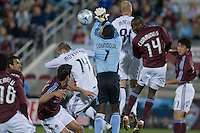 Colorado goalkeeper Bouna Coundoul punches away a ball from a crowd. Real Salt Lake earned a tied versus the Colorado Rapids securing a place in the postseason. Dick's Sporting Goods Park, Denver, Colorado, October, 25, 2008. Photo by Trent Davol/isiphotos.com