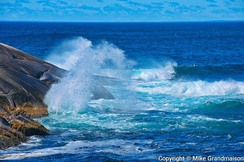 Waves crashing on the shore of the Atlantic Ocean<br />Peggy's Cove<br />Nova Scotia<br />Canada