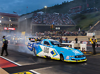 Jul 20, 2018; Morrison, CO, USA; NHRA funny car driver Tim Wilkerson during qualifying for the Mile High Nationals at Bandimere Speedway. Mandatory Credit: Mark J. Rebilas-USA TODAY Sports