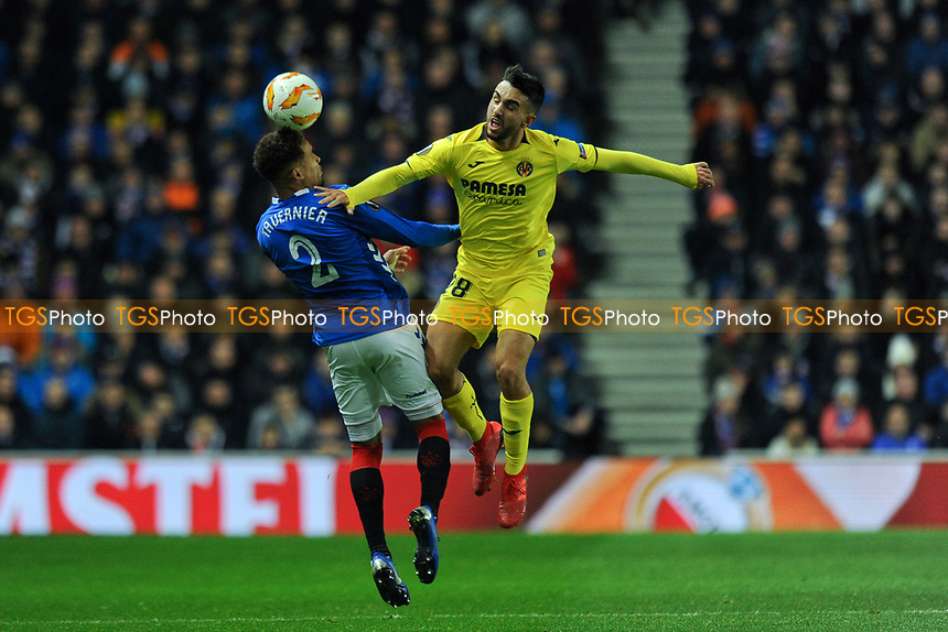 James Tavernier of Rangers goes up for an aerial challenge with Manu Morlanes of Villarreal CF during Rangers vs Villarreal CF, UEFA Europa League Football at Ibrox Stadium on 29th November 2018
