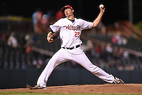 Tri-City ValleyCats pitcher Jordan Mills (25) delivers a pitch during a game against the Batavia Muckdogs on August 2, 2014 at Joseph L. Bruno Stadium in Troy, New  York.  Tri-City defeated Batavia 8-4.  (Mike Janes/Four Seam Images)