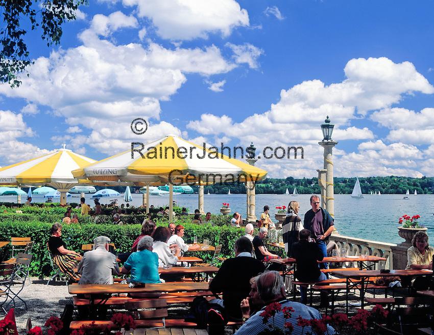 Germany, Bavaria, Upper Bavaria, Lake Starnberg, Starnberg: cafe, beer garden