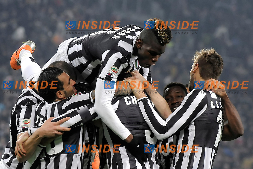 Juventus' Giorgio Chiellini (C not seen) celebrates with his teammates with Paul Pogba on top after scoring his 2-0 goal  Torino 02/02/2014  Juventus Stadium Serie A Tim 2013/2014  Football Calcio Juventus vs Inter  Foto Giorgio Perottino / Insidefoto