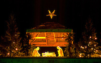Nativity Scene on top of building at St Thomas University. St Paul Minnesota USA