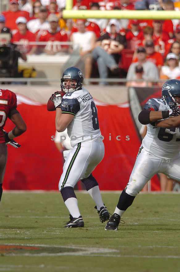 MATT HASSELBACK, of the Seattle Seahawks, during their game  against the Tampa Bay Buccaneers on December 31, 2006 in Tampa Bay, FL...Seattle wins 23-7...TOMASSO DEROSA/ SPORTPICS