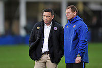 Bath Rugby Head Coach Mike Ford and Assistant Academy Manager Barry Maddocks look on during the pre-match warm-up. European Rugby Champions Cup match, between Bath Rugby and Wasps on December 19, 2015 at the Recreation Ground in Bath, England. Photo by: Patrick Khachfe / Onside Images