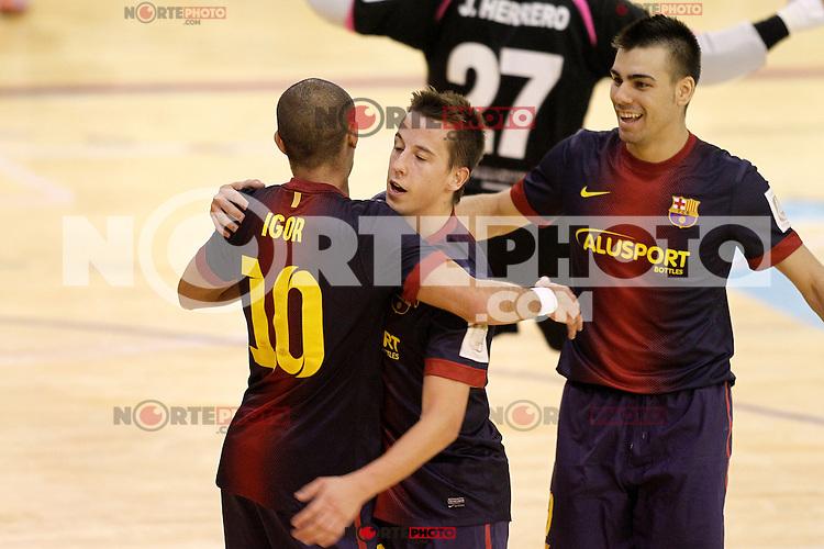 FC Barcelona Alusport's Lin (c), Sergio Lozano (r) and Igor Raphael Lima de Souza celebrate goal during Spanish National Futsal League match.November 24,2012. (ALTERPHOTOS/Acero) /NortePhoto