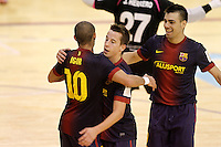 FC Barcelona Alusport's Lin (c), Sergio Lozano (r) and Igor Raphael Lima de Souza celebrate goal during Spanish National Futsal League match.November 24,2012. (ALTERPHOTOS/Acero) /NortePhoto