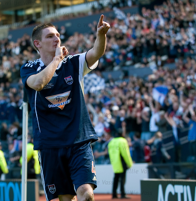 Martin Scott celebrates to the Ross County fans at the end