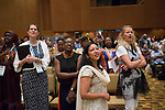 27 June, 2018, Kuala Lumpur, Malaysia : Lakshmi Sundaram and Mabel van Orange watch the big screen  during the closing ceremony at the third day at the Girls Not Brides Global Meeting 2018 at the Kuala Lumpur Convention Centre. Picture by Graham Crouch/Girls Not Brides