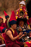 Head Lama of Lingdum monastery outside Gangtok, leads the religious ceremony bringing in the Buddhist New year - Losar. Sikkim, India