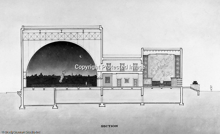 Pittsburgh PA:  View of a rendering created by J.A. Mitchell of the new Buhl Planetarium.  This view is of  the cross-section of the interior's top two floors.  The project was completed in 1939.  The Buhl Planetarium was built with monies from the Buhl Foundation; a foundation created by the wealthy North Side clothier Henry Buhl of Boggs and Buhl department store fame.  Brady Stewart was selected for the job due to his specialized equipment; an 8x10 Dierdorff camera, and his expertise in lighting and photographing large renderings and drawings.