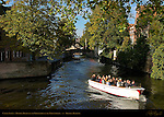 Canal Scene: Tourist Boats on the Groenerei at the Uilenspiegel, Bruges, Brugge, Belgium