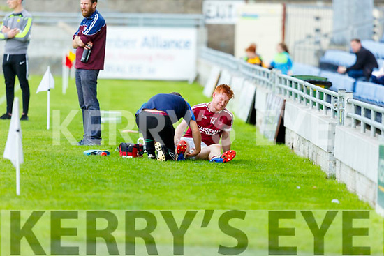 Causeway's Brandon Barrett injured against Lixnaw in R2 of the Garvey Supervalu Hurling Championship on Sunday