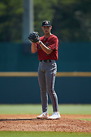 Aidan Hunter (18) of Hanahan HS in Hanahan, SC playing for the Arizona Diamondbacks scout team during the East Coast Pro Showcase at the Hoover Met Complex on August 5, 2020 in Hoover, AL. (Brian Westerholt/Four Seam Images)