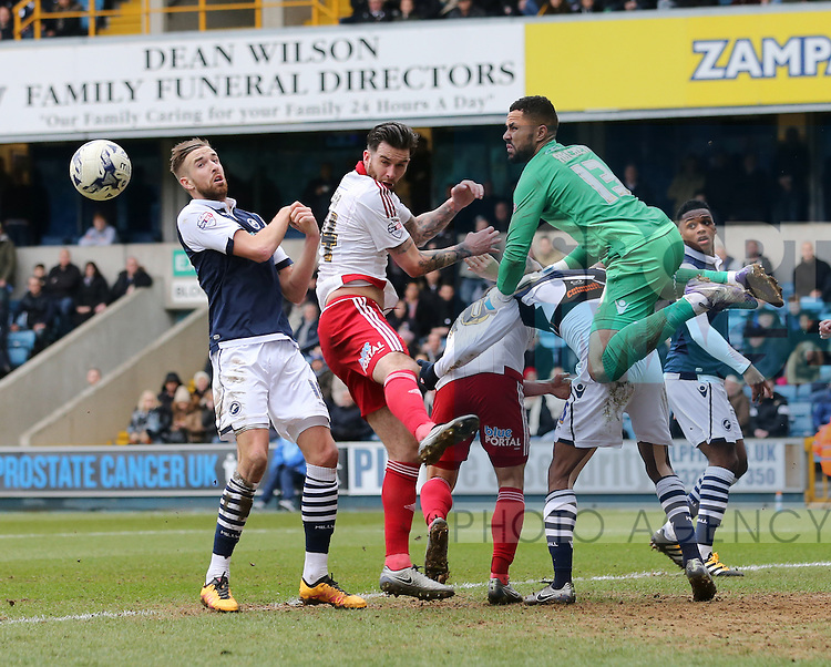 Sheffield United's David Edgar fails to connect with a header during the League One match at The Den.  Photo credit should read: David Klein/Sportimage