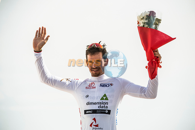 Ryan Gibbons (RSA) Team Dimension Data retains the young riders White Jersey at the end of Stage 4 of 10th Tour of Oman 2019, running 131km from Yiti (Al Sifah) to Oman Convention and Exhibition Centre, Oman. 19th February 2019.<br /> Picture: ASO/Kåre Dehlie Thorstad | Cyclefile<br /> All photos usage must carry mandatory copyright credit (© Cyclefile | ASO/Kåre Dehlie Thorstad)