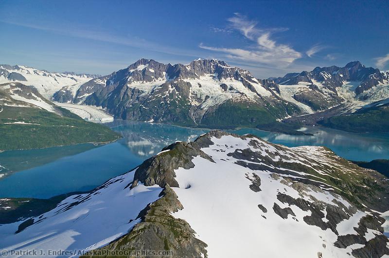 Aerial of Surprise glacier and Chugach mountains, Harriman Fjord, Prince William Sound, Alaska