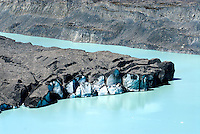 In the early 1970s, there were several small melt-water ponds on New Zealand's longest Tasman Glacier. By 1990, these ponds merged into the 7 km long Tasman Glacier Terminal Lake. With more of the glacier now in contact with the water, its rate of retreat has increased steadily.