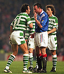 Alan McLaren squares up to Paolo di Canio in an old firm match in 1997