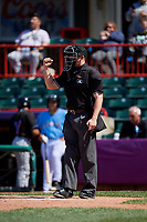 Umpire Jacob Metz calls a strike during an Eastern League game between the Akron RubberDucks and Erie SeaWolves on June 2, 2019 at UPMC Park in Erie, Pennsylvania.  Erie defeated Akron 8-5 in eleven innings, the second game of a doubleheader.  (Mike Janes/Four Seam Images)