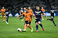 29th July 2020; Bankwest Stadium, Parramatta, New South Wales, Australia; A League Football, Melbourne Victory versus Brisbane Roar; Scott McDonald of Brisbane Roar controls the ball and holds off a challenge