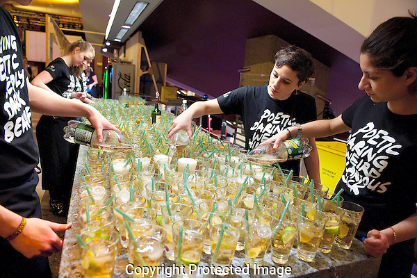 The Netherlands, Rotterdam ,  25 jan , 2012. .International Film Festival Rotterdam 2012. Jameson coctails being prepared at the opening night.<br /> Photo: RUUD JONKERS. Copyright and ownership by photographer. FOR IFFR USE ONLY. Not to be (re-)distributed in any form. Copyright and ownership by photographer. FOR IFFR USE ONLY. Not to be (re-)distributed in any form.