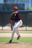 GCL Nationals relief pitcher Elvis Alvarado (43) delivers a pitch during a game against the GCL Astros on August 6, 2018 at FITTEAM Ballpark of the Palm Beaches in West Palm Beach, Florida.  GCL Astros defeated GCL Nationals 3-0.  (Mike Janes/Four Seam Images)