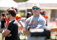Vance Mueller '86 P'16, Football Action Team<br /> The Occidental Tigers football team plays against Willamette University in Jack Kemp Stadium on Saturday, Sept. 15, 2018. It was their first home game of the season and second game of the season. Willamette won, 25-6.<br /> (Photo by Marc Campos, Occidental College Photographer)
