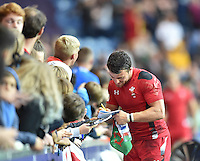 Wales's Luke Morgan during a lap of honour at the end of the game<br /> <br /> Wales Vs England - men's classification 5th - 6th place match<br /> <br /> Photographer Chris Vaughan/CameraSport<br /> <br /> 20th Commonwealth Games - Day 4 - Sunday 27th July 2014 - Rugby Sevens - Ibrox Stadium - Glasgow - UK<br /> <br /> © CameraSport - 43 Linden Ave. Countesthorpe. Leicester. England. LE8 5PG - Tel: +44 (0) 116 277 4147 - admin@camerasport.com - www.camerasport.com