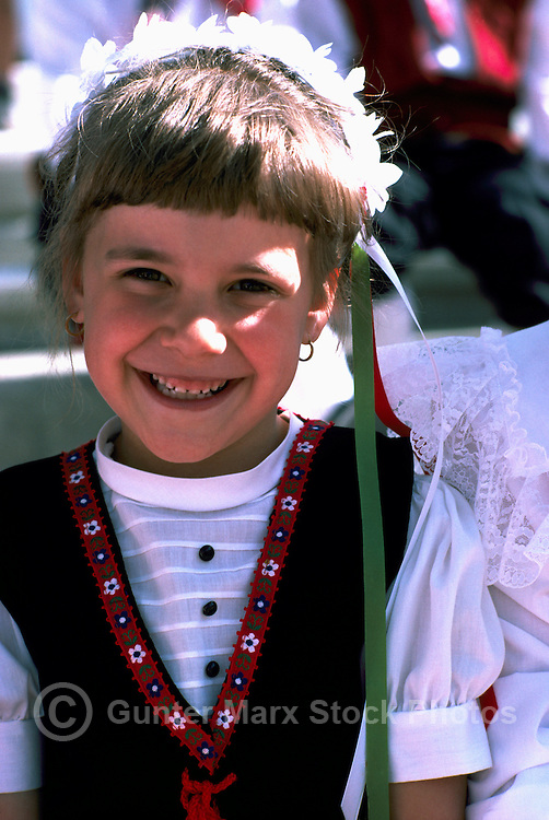 Portrait of Young Ukrainian Girl in Traditional Costume at Ethnic Festival, BC, British Columbia, Canada (No Model Release Available)