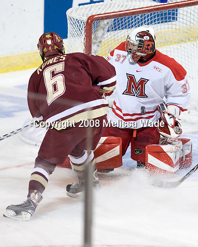 Tim Kunes (BC - 6), Jeff Zatkoff (Miami - 37) - The Boston College Eagles defeated the Miami University RedHawks 4-3 in overtime on Sunday, March 30, 2008 in the NCAA Northeast Regional Final at the DCU Center in Worcester, Massachusetts.