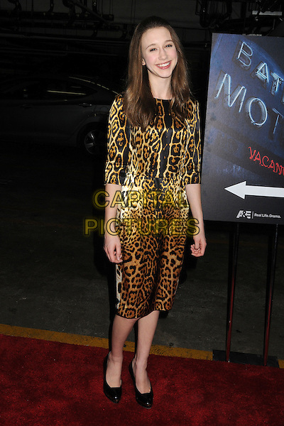 "Taissa Farmiga.""Bates Motel"" Los Angeles Premiere held at Soho House, West Hollywood, California, USA..March 12th, 2013.full length dress white brown leopard print black shoes .CAP/ADM/BP.©Byron Purvis/AdMedia/Capital Pictures."
