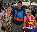 Patty Sohn, Michael Angulo and Kathleen Angulo during the Super Hero Crawl in Reno on Saturday, July 15 2017.