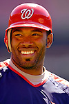 11 June 2006: Marlon Anderson, infielder for the Washington Nationals, smiles outside the batting cage prior to a game against the Philadelphia Phillies at RFK Stadium, in Washington, DC. The Nationals shut out the visiting Phillies 6-0 to take the series three games to one...Mandatory Photo Credit: Ed Wolfstein Photo..