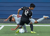 NWA Democrat-Gazette/BEN GOFF @NWABENGOFF<br /> Jose Vega (10) of Springdale and Christian Chavez (12) of Fort Smith Northside collide Saturday, May 12, 2018 during the semifinal match in the boys 7A state soccer tournament in Gates Stadium at Rogers Heritage.