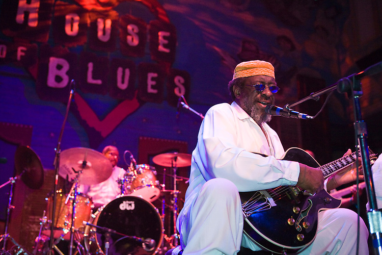 """James """"Blood"""" Ulmer performs at the 8th annual Ponderosa Stomp, held at the House of Blues in New Orleans on April 28, 2009.<br /> <br /> James """"Blood"""" Ulmer is a noted American blues and jazz guitar player and singer with strong roots in the jazz world where he played with Art Blakey's Jazz Messengers and (most notably and extensively) with Ornette Coleman in the 1970s.  With this impressive jazz base, Ulmer proceeded to head several of his own groups in the 1980s and 90s creating a very unique sound.  He has recently recorded several blues albums to great acclaim.    <br /> <br /> The Ponderosa Stomp is an annual music festival held in New Orleans since 2002 that celebrates the uncelebrated names in American musical history.  The festival spotlights musicians who have contributed to the American roots musical canon in various genres, from rockabilly to soul to rock and roll to jazz to experimental.  For two nights of the year these mostly forgotten names perform to an audience of aficionados whose memory has not faded and turn back the clock with blistering performances of the hits that did or (in the case of the regional musicians that plugged away unknown to the world at large, as well as those whose songs were recorded to acclaim by other musicians) did not make them famous.  <br /> <br /> In addition to the two nights of performances the Ponderosa Stomp Foundation (the non-profit founded by the eccentric Dr. Ira Padnos and his coterie of like minded music fanatics the Mystic Knights of the Mau Mau) also produces two days of the Music History Conference, where many of the performers, as well as other music industry names, share stories of their lives in the business.  The Conferences take place in the Louisiana State Museum at the Cabildo in Jackson Square."""