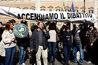 Roma, 28 Febbraio 2019<br /> Attiviste e attivisti del Partito Radicali Italiani durante un flash mob davanti la Camera dei Deputati in Piazza Montecitorio per chiedere la legalizzazione della Cannabis e lanciano la nuova campagna dal titolo WeeDo!