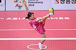 Satomi Ishihara (JPN), <br /> AUGUST 20, 2018 - Sepak takraw : <br /> Women's Team Regu Preliminary match <br /> between Malaysia - Japan<br /> at Jakabaring Sport Center Ranau Hall <br /> during the 2018 Jakarta Palembang Asian Games <br /> in Palembang, Indonesia. <br /> (Photo by Yohei Osada/AFLO SPORT)