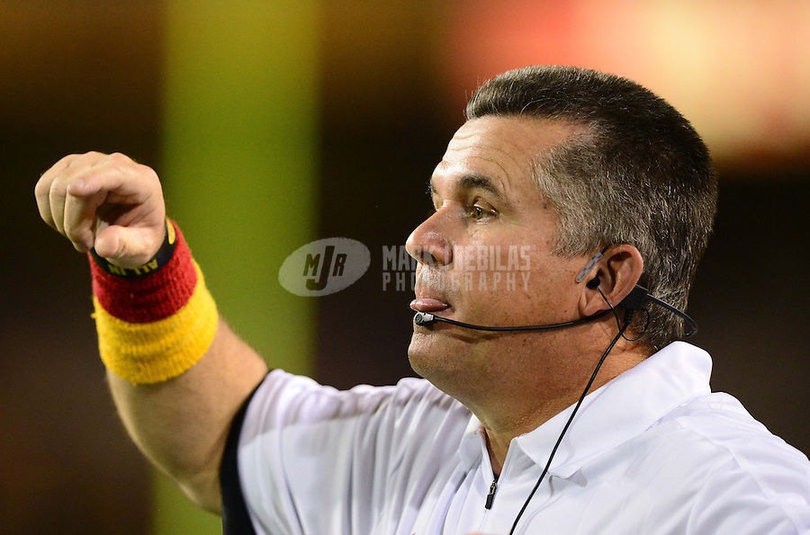 Oct. 18, 2012; Tempe, AZ, USA; Arizona State Sun Devils head coach Todd Graham in the second half against the Oregon Ducks at Sun Devil Stadium. Oregon defeated Arizona State 43-21. Mandatory Credit: Mark J. Rebilas-