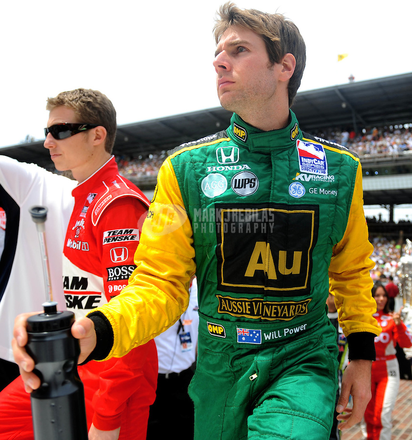 May 25, 2008; Indianapolis, IN, USA; IRL driver Will Power (right) and Ryan Briscoe during the 92nd running of the Indianapolis 500 at the Indianapolis Motor Speedway. Mandatory Credit: Mark J. Rebilas-