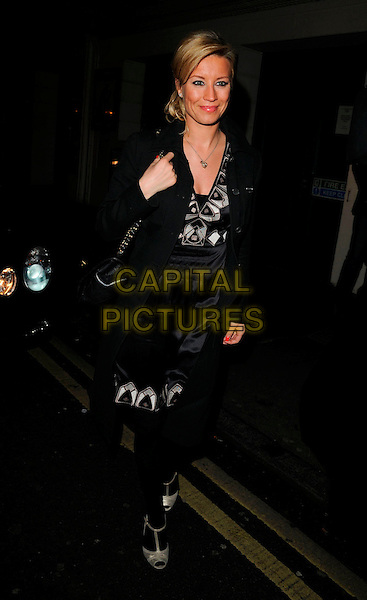DENISE VAN OUTEN .At The Ivy Restaurant,.London, England, .April 5th 2008..full length black and white silver print dress tights coat t-bar shoes gold.CAP/CAN.©Can Nguyen/Capital Pictures