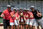 HOUSTON, TX - MAY 12:   Members of the Rhodes College team celebrate with the National Championship Trophy during the Division III Women's Golf Championship held at Bay Oaks Country Club on May 12, 2017 in Houston, Texas. Rhodes College won first place with a score of 1217. (Photo by Rudy Gonzalez/NCAA Photos/NCAA Photos via Getty Images)